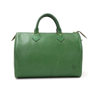Louis Vuitton Vintage Green Leather Travel Bag