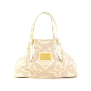 Louis Vuitton White Leather Tote Shoulder Bag