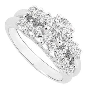 LoveBrightJewelry Cubic Zirconia Engagement Ring with Wedding Band Set 14K White Gold 0.75 CT Cubic Zirconia