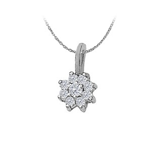 LoveBrightJewelry 0.10 Carat Diamond Flower Pendant in 14K White Gold