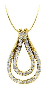 LoveBrightJewelry 0.25 Carat Double Teardrop Pendant with CZs in Yellow Gold Vermeil over Sterling Silver