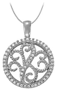 LoveBrightJewelry 0.25 Carat Total Cubic Zirconia in Sterling Silver Floral Circle Fashion Pendant