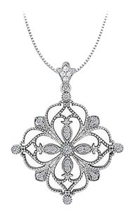 LoveBrightJewelry 0.33 Carat Total Diamonds in 14K White Gold Floral Pattern