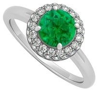 LoveBrightJewelry 0.75 CT May Birthstone Created Emerald and Cubic Zirconia Halo Engagement Ring 14K White Gold