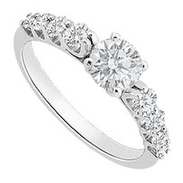 LoveBrightJewelry 1 Carat Cubic Zirconia Engagement Ring in Sterling Silver