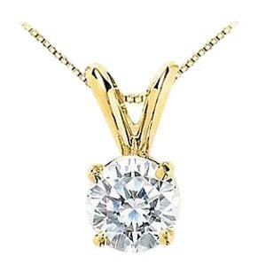 LoveBrightJewelry 1 Carat Cubic Zirconia Solitaire Pendant in 14K Yellow Gold Brilliant Cut Triple AAA Quality CZ