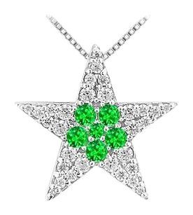 LoveBrightJewelry 1 carat Cubic Zirconia with Frosted Emerald Star Pendant in Rhodium