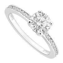 LoveBrightJewelry 1 Carat Engagement Ring of Triple AAA Quality Cubic Zirconia in 14K White Gold finish