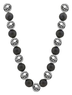 LoveBrightJewelry 10 MM Beads and Black Onyx Necklace with 14K White Gold