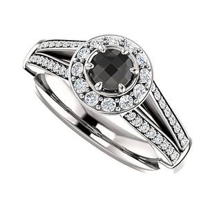 LoveBrightJewelry 1.00 Carat Black Onyx And Cz Split Shank Halo Ring