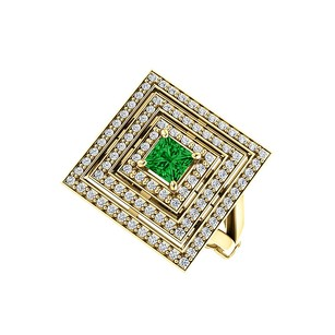 LoveBrightJewelry 1.00 Carat Emerald and CZ Square Tripartite Halo Ring