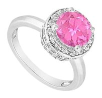 LoveBrightJewelry 10K White Gold Created Pink Sapphire and Cubic Zirconia Engagement Ring 1.00 CT TGW