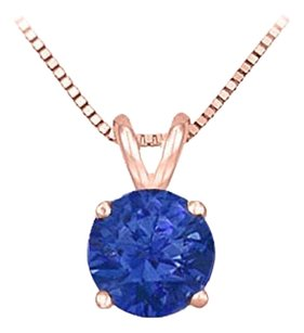 LoveBrightJewelry 14K Rose Gold Prong Set Created Sapphire Solitaire Pendant 0.25 CT TGW