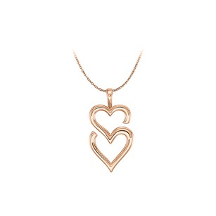 LoveBrightJewelry 14K Rose Gold Vermeil Double Heart Pendant Gift Idea
