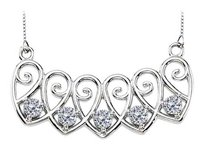 LoveBrightJewelry 14K White Gold 5 Stone CZs Mothers Necklace Mounting