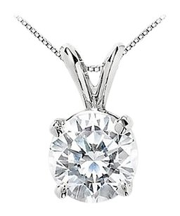 LoveBrightJewelry 14K White Gold Cubic Zirconia Solitaire Pendant 25 Carat Round Cut Triple AAA Quality