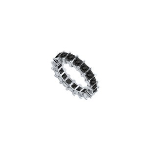 LoveBrightJewelry 14k White Gold Pure Black Natural Onyx Prong Set Eternity Band 4.00 Ct Tgw