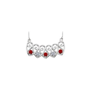 LoveBrightJewelry 14K White Gold Rubies and Diamonds Mothers Necklace Mounting