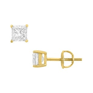 LoveBrightJewelry 14k Yellow Gold Princess Cubic Zirconia Stud Earrings 1.00 Ct. Tgw.