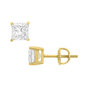 LoveBrightJewelry 14k Yellow Gold Princess Cubic Zirconia Stud Earrings 3.00 Ct. Tgw.