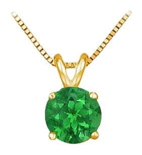LoveBrightJewelry 14K Yellow Gold Prong Set Created Emerald Solitaire Pendant 0.25 CT TGW