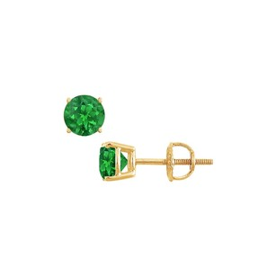 LoveBrightJewelry 14K Yellow Gold Prong Set Emerald Stud Earrings 0.75 CT TGW