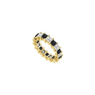LoveBrightJewelry 14k Yellow Gold Pure Black Natural Onyx And Cubic Zirconia Eternity Band 4.00 Ct Tgw