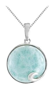 LoveBrightJewelry 14MM Larimar Cabochon Pendant in Rhodium Treated 925 Sterling Silver