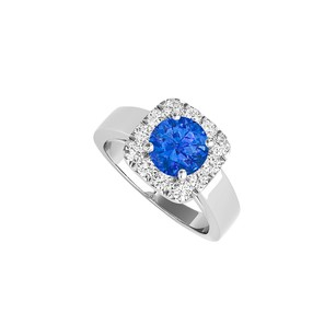LoveBrightJewelry 1.50 Carat Sapphire Cz Halo Engagement Ring In Silver