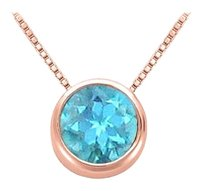 LoveBrightJewelry 1.00 carat December Birthstone Blue Topaz Bezel Pendant in 14K Rose Gold Vermeil