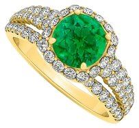 LoveBrightJewelry 1.75 Carat Emerald and CZ Halo Split Shank 18K Yellow Gold Vermeil Engagement Ring
