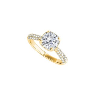 LoveBrightJewelry 18k Yellow Gold Vermeil Cubic Zirconia Engagement Ring