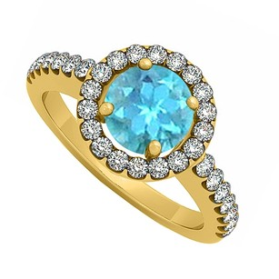 LoveBrightJewelry 18k Yellow Gold Vermeil December Birthstone Blue Topaz And Cubic Zirconia Halo Engagement Ring