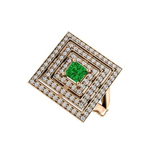LoveBrightJewelry 1ct tw Emerald CZ Square Tripartite Halo Ring Vermeil