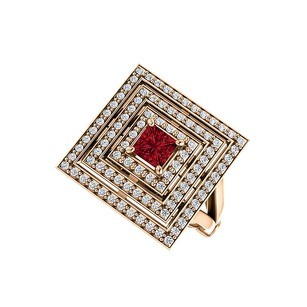 LoveBrightJewelry 1ct tw Ruby and CZ Square Tripartite Halo Ring Vermeil