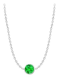LoveBrightJewelry 2 Carat Bezel Set Diamond By The Yard Emerald Necklace