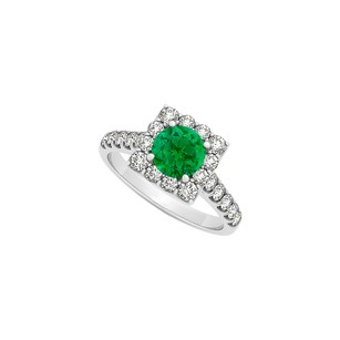 LoveBrightJewelry Round Emerald And Cubic Zirconia Square Halo Engagement Ring
