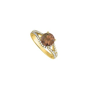 LoveBrightJewelry Smoky Quartz And Cz Split Shank Engagement Ring In 18k Yellow Gold