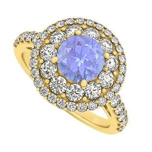 LoveBrightJewelry Tanzanite And Cz Engagement Ring Yellow Gold Vermeil