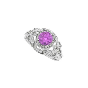 LoveBrightJewelry Cool Jewelry Amethyst And Cz Engagement Ring 1.50 Tgw