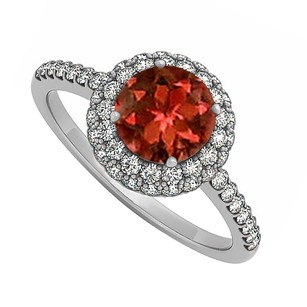 LoveBrightJewelry Garnet And Cubic Zirconia Double Halo Engagement Ring In 925 Sterling