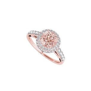 LoveBrightJewelry Morganite Cz Rose Gold Vermeil Halo Engagement Ring