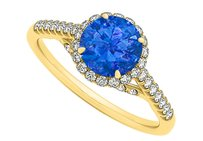 LoveBrightJewelry Sapphire And Cz Specially Designed Halo Engagement Ring
