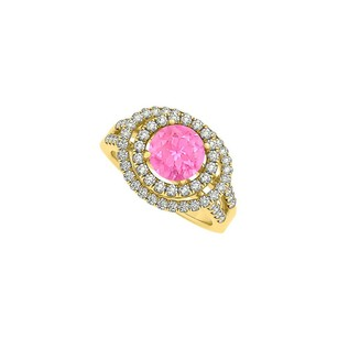 LoveBrightJewelry Four Prong Set Pink Sapphire And Cubic Zirconia Double