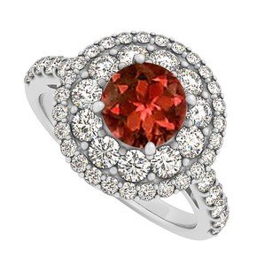 LoveBrightJewelry Garnet And Cz Engagement Ring In Halo Sterling Silver