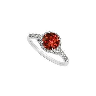 LoveBrightJewelry Garnet And Cz Specially Designed Engagement Ring In Sterling Silver