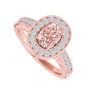 LoveBrightJewelry Morganite And Cubic Zirconia Halo Engagement Ring