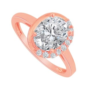 LoveBrightJewelry One And Half Carat Cz In 14k Rose Gold Engagement Ring