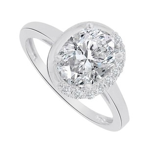 LoveBrightJewelry Oval Cubic Zirconia Engagement Ring In 14k White Gold