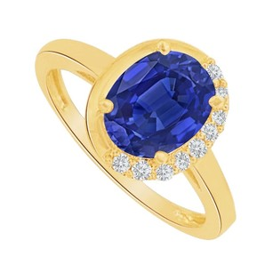 LoveBrightJewelry Oval Sapphire And Cz Engagement Ring In 14k Yellow Gold